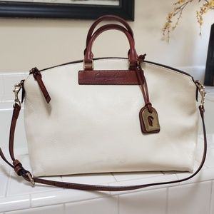 Dooney and Bourke white and tan Leather Satchel